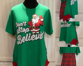 Womens tunic pop over top Green red plaid Christmas Santa Believe upcycled tee cotton up cycled Easy fit L shirt