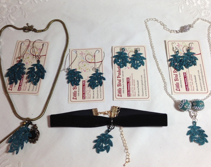 Teal green leaf pattern lace jewelry collection Teal lace earrings black ribbon choker silver color or brass color necklace light earrings