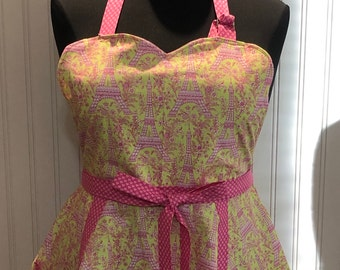 Womens L full apron Paris Eiffel Tower print Yellow hot pink sweetheart bodice half circle skirt no tie neck Hot pink heart print ties
