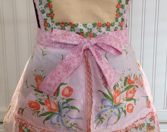 Vintage Womens full apron handkerchief shabby chic pink orange tulips blue bow pink flowers pink cotton ties overhead button cross ties
