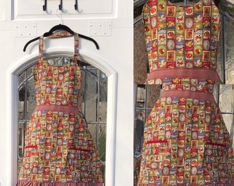 Womens full apron red blue green old fashioned fruit red gingham check cotton print sweetheart bodice skirt vintage pattern lined apron