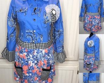 Blue black women's jacket upcycled jacket blue black white embroidered duster jacket light weight blue orange tee skirt black gingham trim