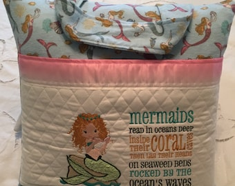 Pocket pillow mermaid embroidery pink satin reading pillow childs reading pillow blue pink mermaid print soft flannel zip close