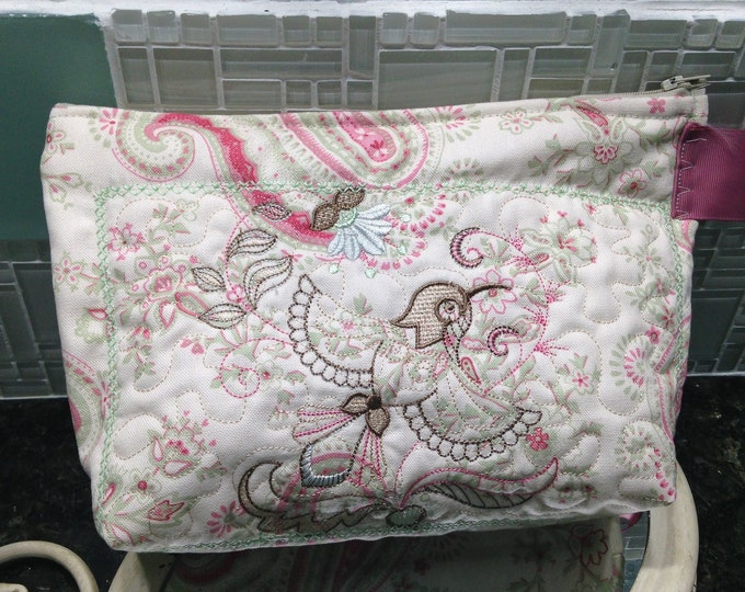 Womens make up bag laura ashley print fabric toiletry bag medium zipper bag travel bag quilted fabric bag pink green cream Embroidered bird