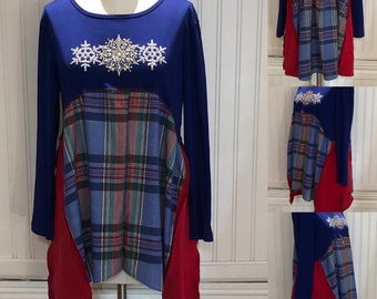 Womens upcycled tunic tee pop over top Blue red plaid snow flake  bling tee high low hem cotton up cycled Easy fit M L shirt