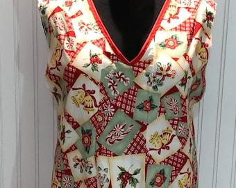 Womens full Christmas apron large apron no neck tie apron slip on apron vintage eyelet lace ruffle red green cream holiday print