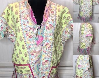 Quilted kimono yellow pink green paisley reversible kimono jacket upcycled vintage style quilted kimono pink green paisley womens vest