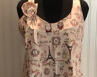 Womens L full apron Paris Eiffel Tower print on pink slip over head cross back waist ties no tie neck ties Two large full side pockets