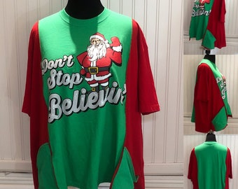 Women's tee shirt tunic red green Santa dont stop believin Christmas tunic shirt upcycled tee shirt red green  Santa Christmas dress XXL