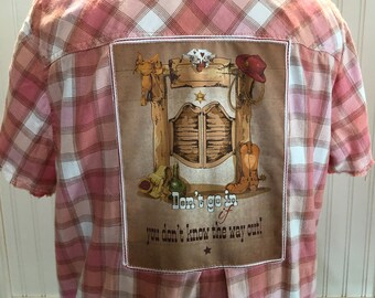 Women shirt orange pink cream plaid short frayed sleeves split hem repurposed flannel western country saloon door picture back