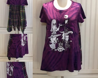 Womens upcycled tunic tee pop over top NBC Sally Jack purple black Jack two pockets purple green plaid cotton upcycle shirt Easy fit M shirt