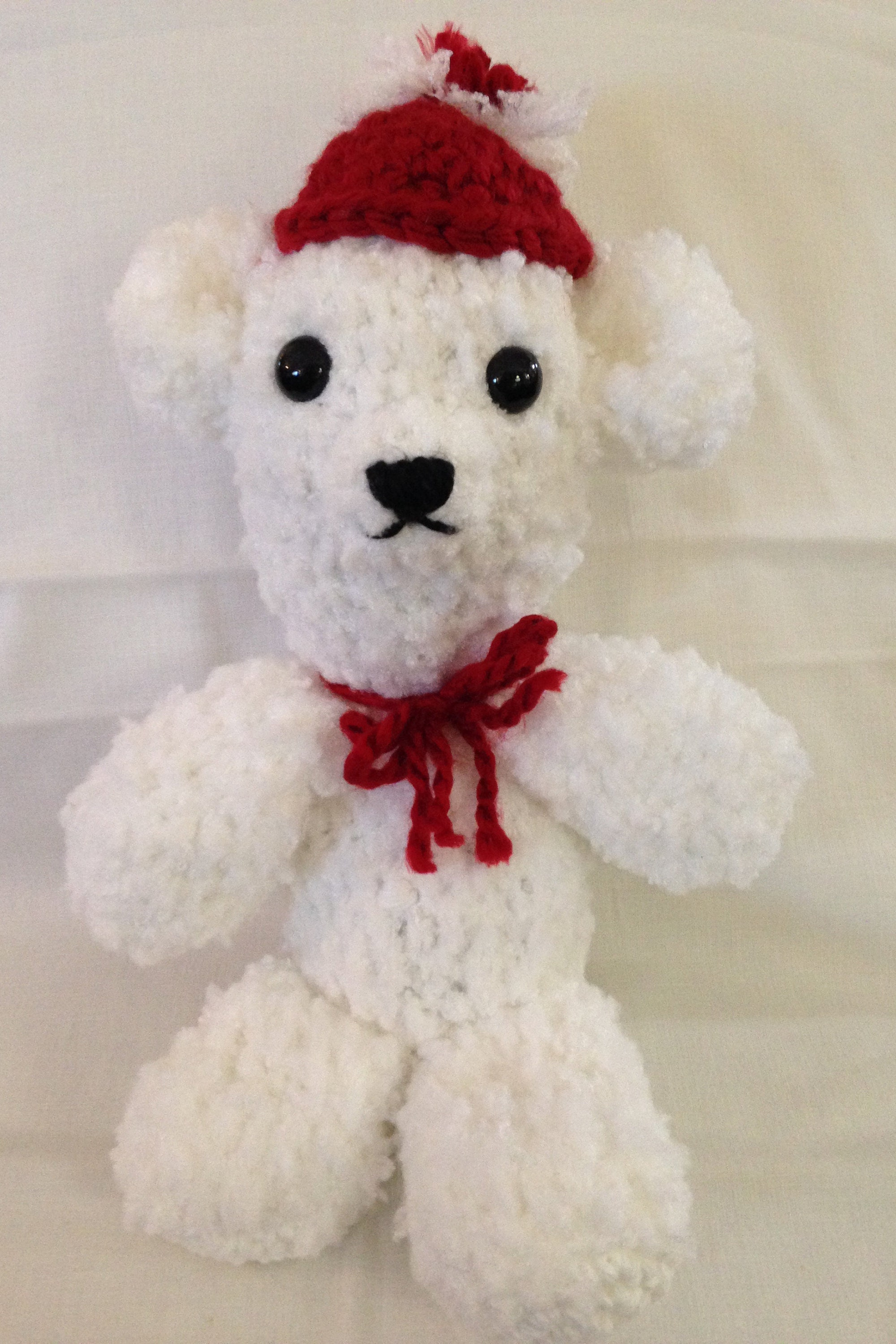 Crochet Polar Bear White Red Bear Childs Toy Stuffed Polar Bear Small