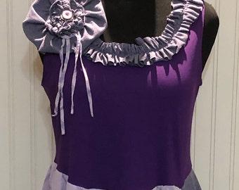 Womens tunic dress L upcycled tank purple gray lavender lagenlook shabby chic pocket tunic asymmetric Hem line vintage button flower pin