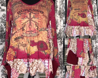 Womens tunic dress burgundy blue bling rodeo flare tee Durango siesta print easy fit upcycled tee rodeo theme size L to XL pockets roses