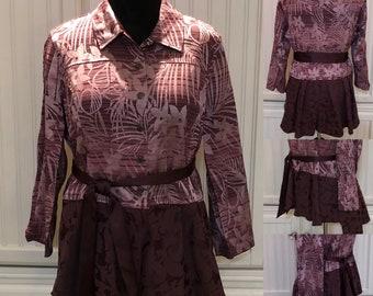 Wine women's jacket upcycled jacket wine burgundy flower embossed silk jacket light weight long jacket
