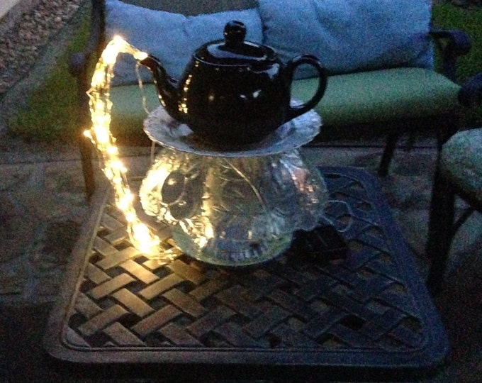 Yard art lighted teapot tower teapot table center piece etched glass repurposed glass blue teapot lighted teapot tower vintage plate lighted