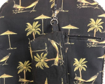 Garment bag travel set Black green palm trees and hammock upholstery fabric braided trim light weight garment bag quilted toiletry bag set