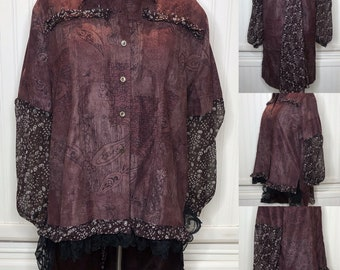 Wine burgundy brown XL women's jacket upcycled jacket black lace ruffle flower trimmed jacket light weight long duster jacket flowing back