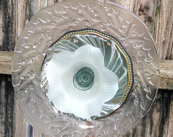 Yard Art Glass Flowers repurposed glass plate glass flower plate sea green ceramic fluted glass flower garden art shabby chic yard art