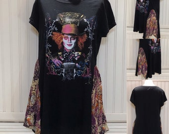 Womens upcycled tunic tee pop over top Alice Wonderland Mad Hatter black orange purple Tee shirt two Easy fit L shirt Upcycled tee shirts