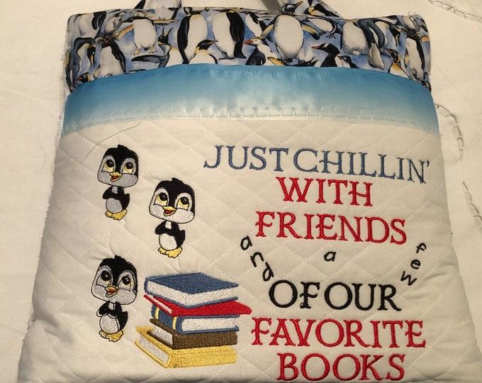 Featured listing image: Pocket pillow embroidered penguin child reading pillow friends quote zip close blue satin trim penguin print print blue vintage chenille