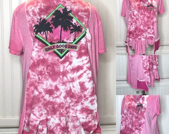 Womens XL tie dye pink tee shirt tunic Hot pink only good days graphic print lagenlook easy fit pocket tunic upcycled pocket tunic palm tree