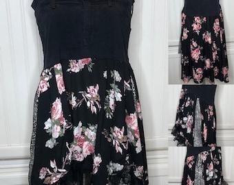 Denim Boho black flower lace sundress upcycled cotton flowered black lace ruffled summer dress animal print panels butterfly dress L dress