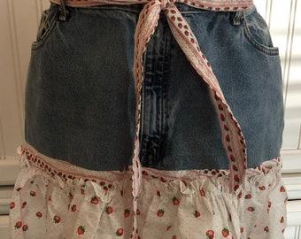Denim full apron women's denim apron dress Strawberry ties denim neck strap shabby chic up cycled denim long strawberry ruffled hem pocket