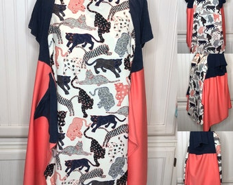 Womens XXL plus size panther cat tunic Navy Black orange lagenlook  easy fit pocket tee tunic up cycled tee butterfly tunic