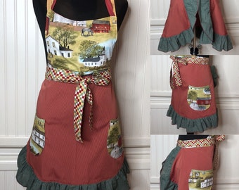 Womens full apron red beige green barn gingham cotton print lined bodice half circle skirt vintage barn pattern full apron gingham ruffle