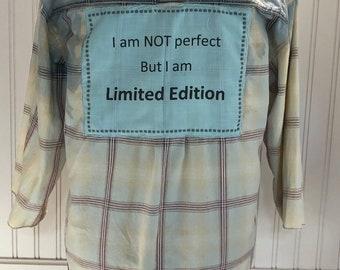Womens long sleeve upcycled shirt boho shirt bleach fade shirt cream blue shirt vintage lace back trim blue back not perfect limited edition