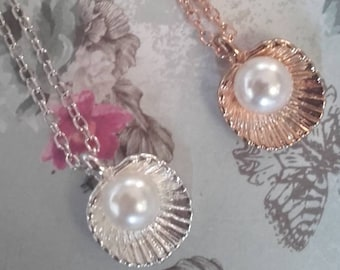 Scallop necklace pearl choose gold or silver plated charm