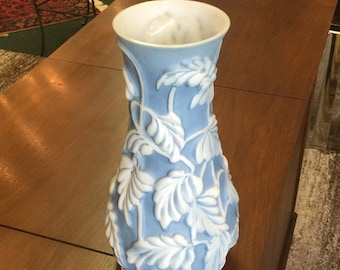Vintage Phoenix Art Glass Vase w/ Paper Label Philodendron