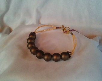 Peach and Brown Pearl Bracelet