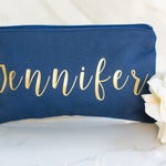 Navy Makeup Bag - Navy Bridesmaid Bag - Navy Cosmetic Bag - Personalized Bridesmaid Gift