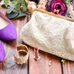 Lace Bridal Clutch - Bride Gift - Personalized Bridal Purse - Wedding Day Clutch - Ivory Clutch - Clutch for Bride - Ivory Bridesmaid Clutch