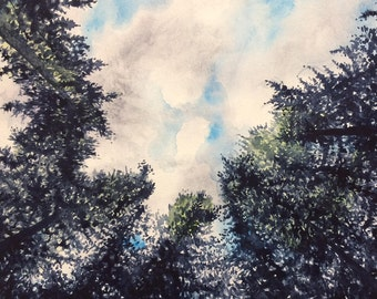 CLOUDS Beyond the TREES- Original Watercolor Painting Print