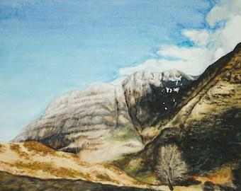 Scottish HIGHLANDS WATERCOLOR LANDSCAPE  Wall Fine Art Print