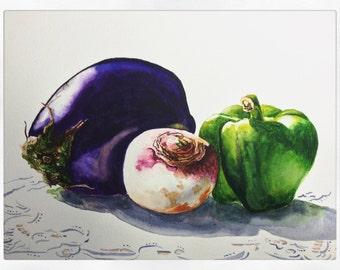 VEGETABLE Still Life Watercolor Painting - Wall ART PRINT