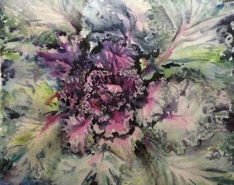 Purple Kale MODERN BOTANICAL WATERCOLOR Art- Art print