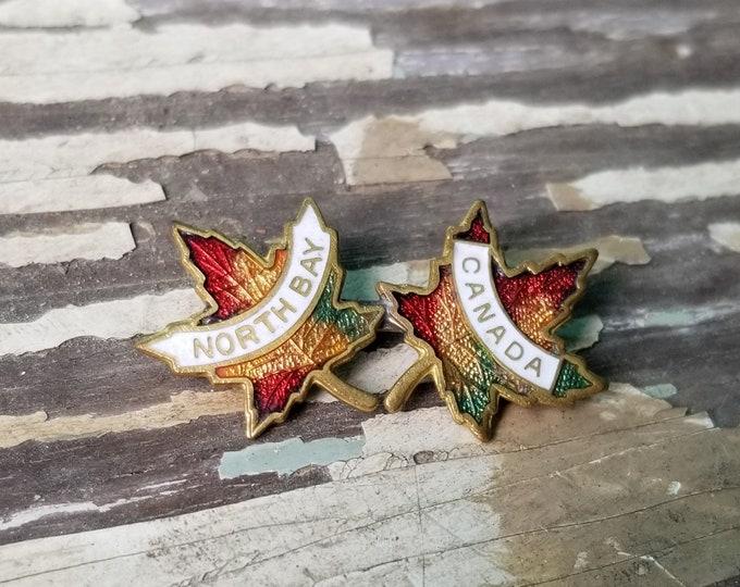 North Bay Canada Maple Leaf Lapel Pin