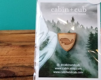 Beaver - Laser Etched Wooden Lapel Pin