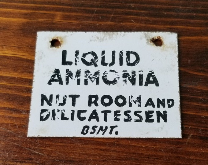 Vintage Hand Painted Press Board Liquid Ammonia Sign