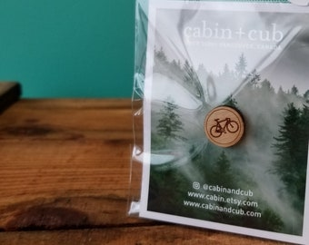Bicycle - Laser Etched Wooden Lapel Pin