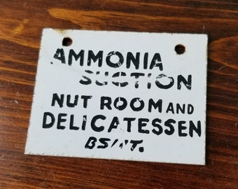 Vintage Hand Painted Press Board Ammonia Suction Sign