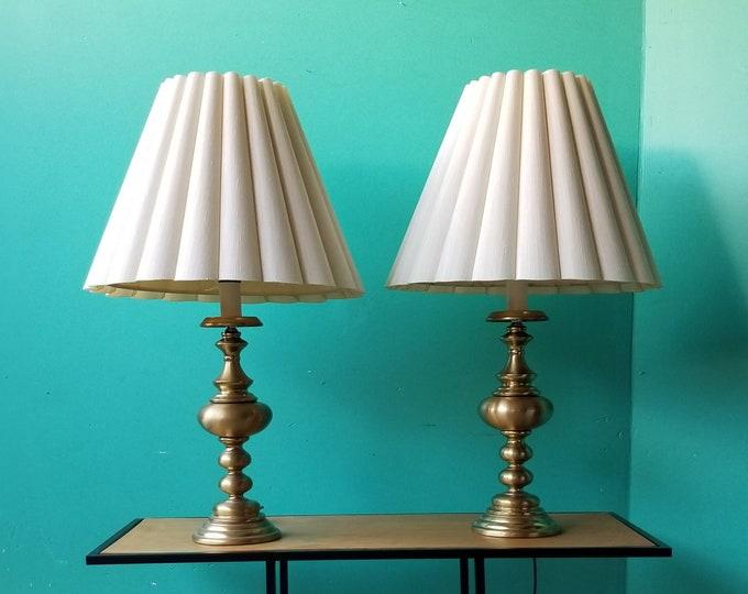 Midcentury Brass Accent Lamp Pair