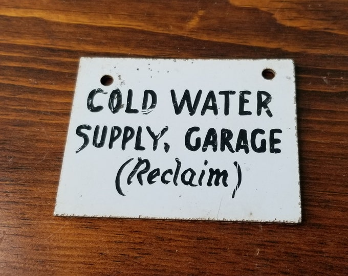 Vintage Hand Painted Press Board Cold Water Supply Sign