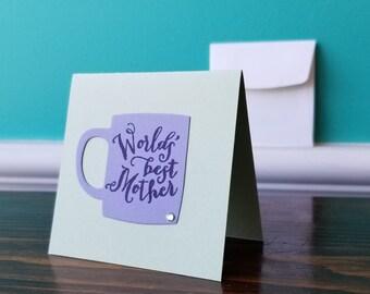 Worlds Best Mother Mug - Blank Greeting Card With Envelope - Big City Stamper