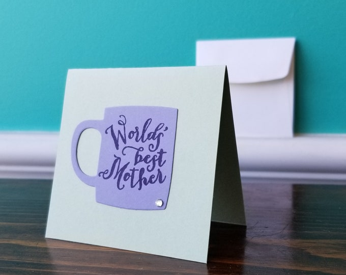 Worlds Best Mother Mug - Blank Greeting Card With Envelope - Big City Stamper