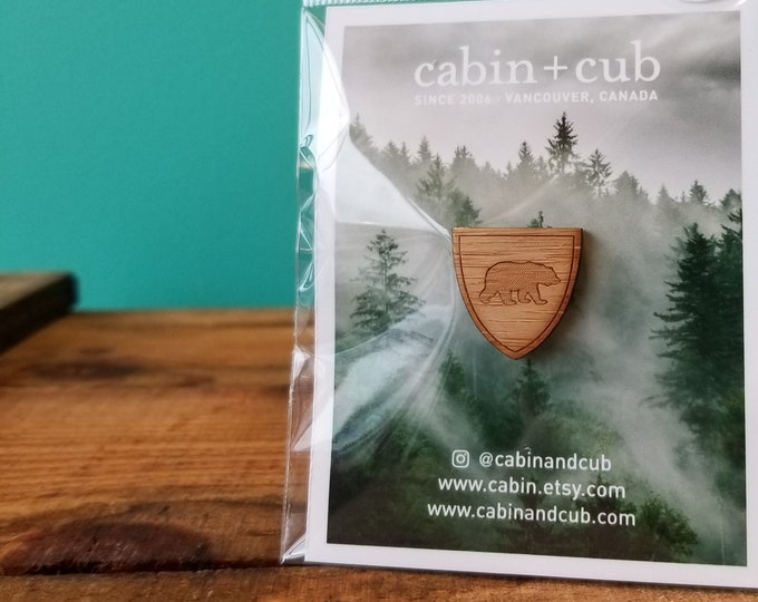 Bear - Laser Etched Wooden Lapel Pin